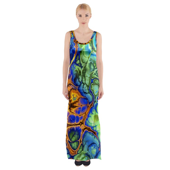Abstract Fractal Batik Art Green Blue Brown Maxi Thigh Split Dress