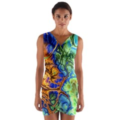 Abstract Fractal Batik Art Green Blue Brown Wrap Front Bodycon Dress
