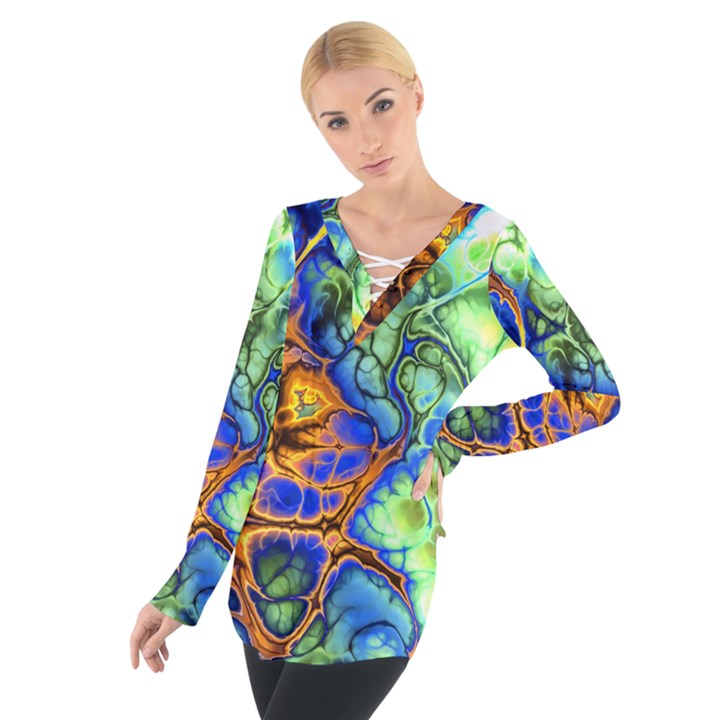 Abstract Fractal Batik Art Green Blue Brown Women s Tie Up Tee