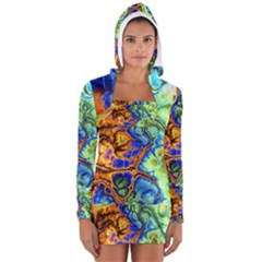 Abstract Fractal Batik Art Green Blue Brown Women s Long Sleeve Hooded T Shirt