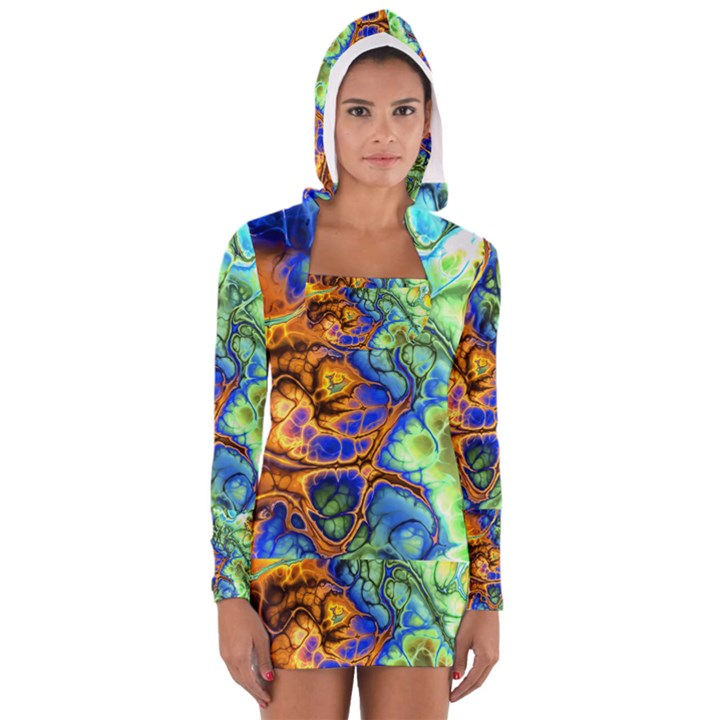 Abstract Fractal Batik Art Green Blue Brown Women s Long Sleeve Hooded T-shirt