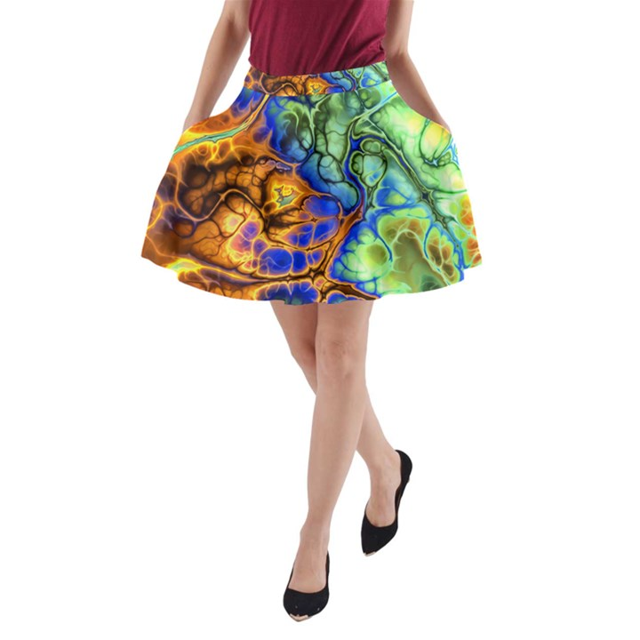 Abstract Fractal Batik Art Green Blue Brown A-Line Pocket Skirt