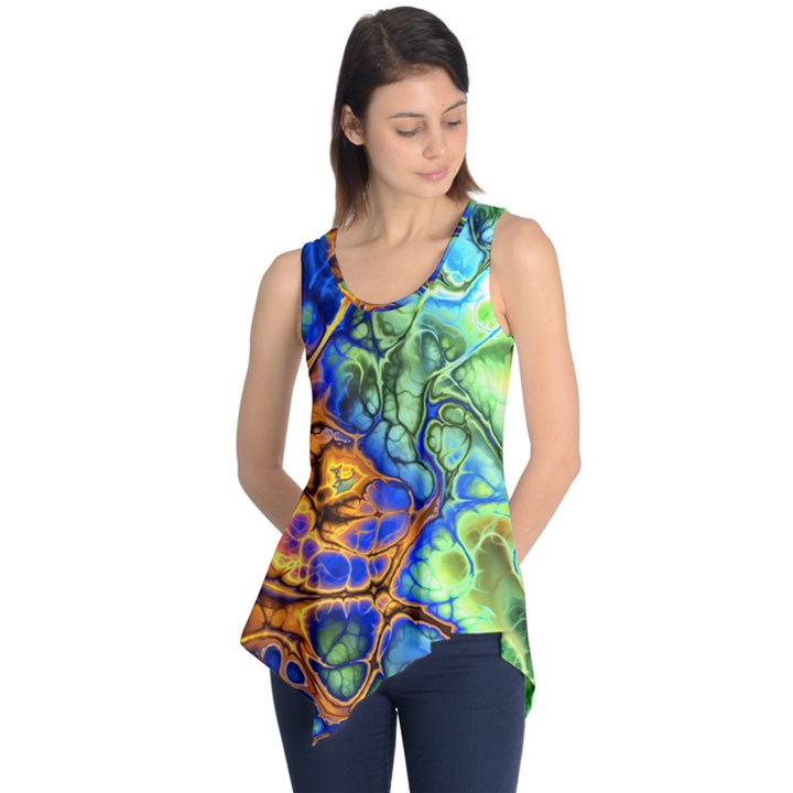 Abstract Fractal Batik Art Green Blue Brown Sleeveless Tunic