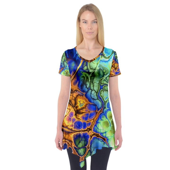 Abstract Fractal Batik Art Green Blue Brown Short Sleeve Tunic