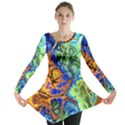 Abstract Fractal Batik Art Green Blue Brown Long Sleeve Tunic  View1