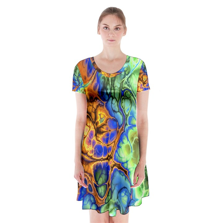 Abstract Fractal Batik Art Green Blue Brown Short Sleeve V-neck Flare Dress