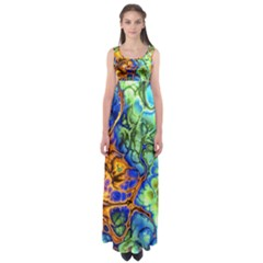 Abstract Fractal Batik Art Green Blue Brown Empire Waist Maxi Dress