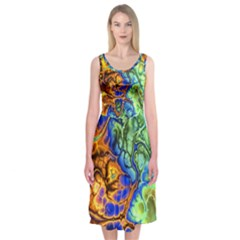 Abstract Fractal Batik Art Green Blue Brown Midi Sleeveless Dress
