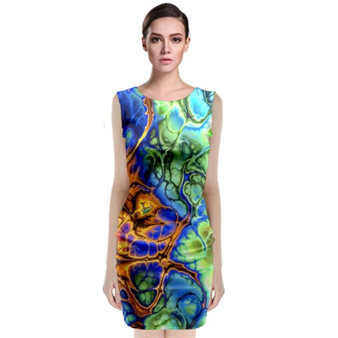 Abstract Fractal Batik Art Green Blue Brown Classic Sleeveless Midi Dress