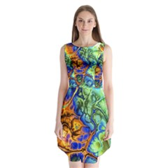 Abstract Fractal Batik Art Green Blue Brown Sleeveless Chiffon Dress