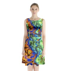 Abstract Fractal Batik Art Green Blue Brown Sleeveless Chiffon Waist Tie Dress