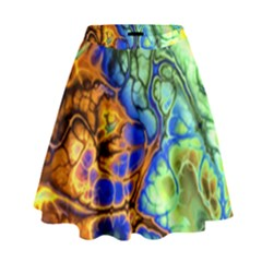 Abstract Fractal Batik Art Green Blue Brown High Waist Skirt