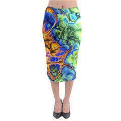Abstract Fractal Batik Art Green Blue Brown Midi Pencil Skirt