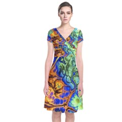 Abstract Fractal Batik Art Green Blue Brown Short Sleeve Front Wrap Dress