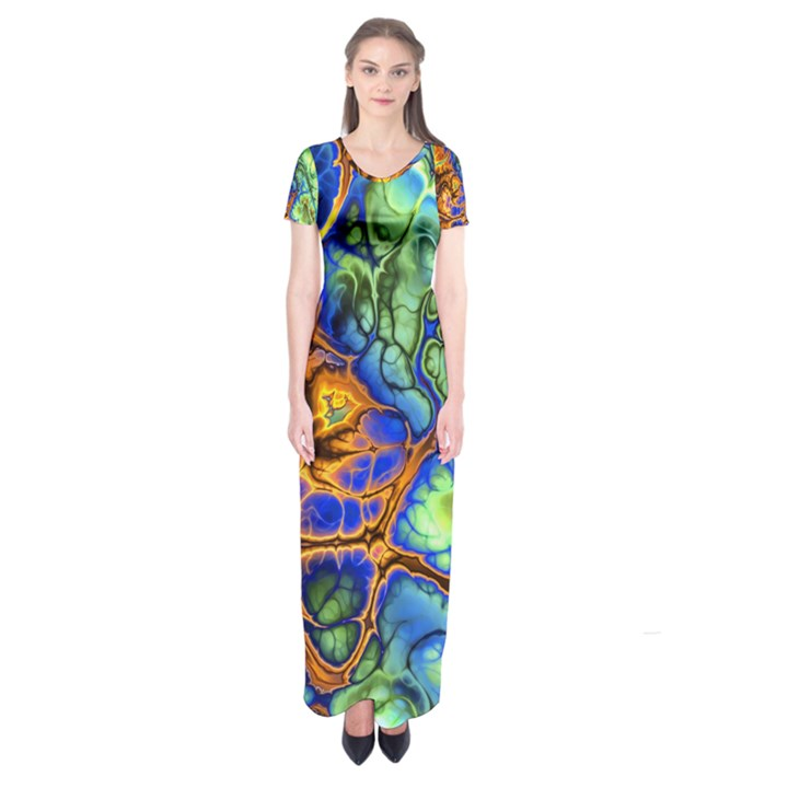 Abstract Fractal Batik Art Green Blue Brown Short Sleeve Maxi Dress