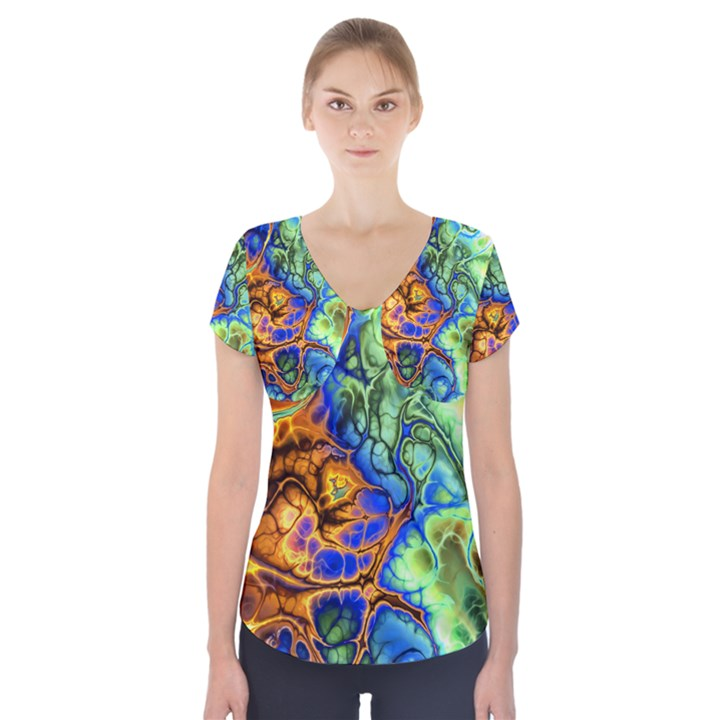 Abstract Fractal Batik Art Green Blue Brown Short Sleeve Front Detail Top