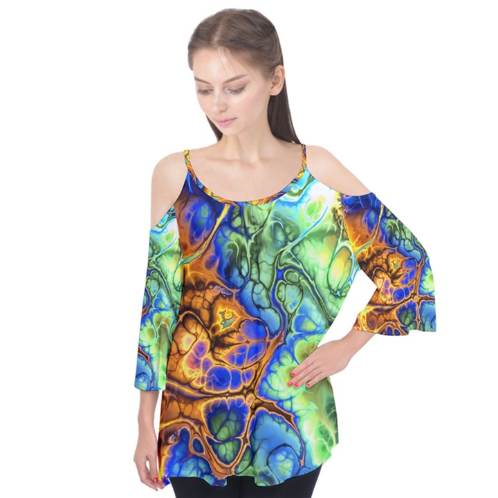 Abstract Fractal Batik Art Green Blue Brown Flutter Tees