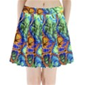 Abstract Fractal Batik Art Green Blue Brown Pleated Mini Skirt View1