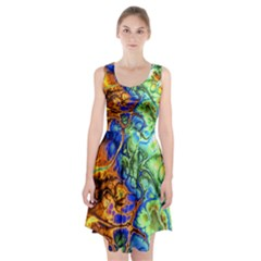 Abstract Fractal Batik Art Green Blue Brown Racerback Midi Dress
