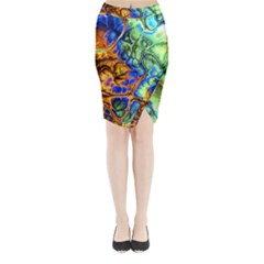 Abstract Fractal Batik Art Green Blue Brown Midi Wrap Pencil Skirt