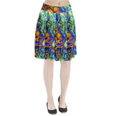 Abstract Fractal Batik Art Green Blue Brown Pleated Skirt