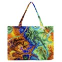 Abstract Fractal Batik Art Green Blue Brown Medium Zipper Tote Bag View1