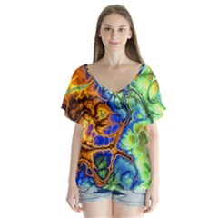 Abstract Fractal Batik Art Green Blue Brown Flutter Sleeve Top