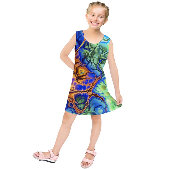 Abstract Fractal Batik Art Green Blue Brown Kids  Tunic Dress