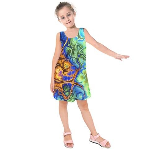 Abstract Fractal Batik Art Green Blue Brown Kids  Sleeveless Dress