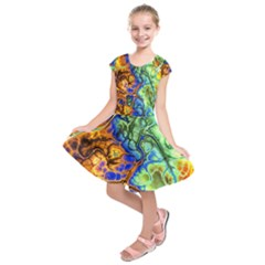 Abstract Fractal Batik Art Green Blue Brown Kids  Short Sleeve Dress