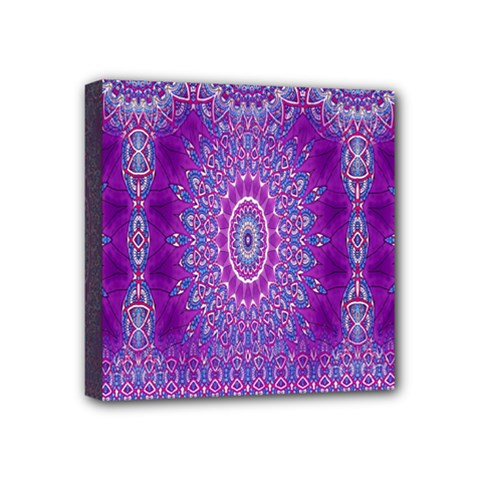 India Ornaments Mandala Pillar Blue Violet Mini Canvas 4  X 4