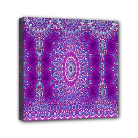 India Ornaments Mandala Pillar Blue Violet Mini Canvas 6  x 6
