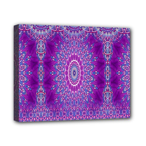 India Ornaments Mandala Pillar Blue Violet Canvas 10  x 8