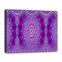 India Ornaments Mandala Pillar Blue Violet Canvas 14  x 11  View1