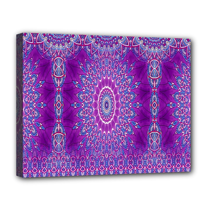 India Ornaments Mandala Pillar Blue Violet Canvas 14  x 11
