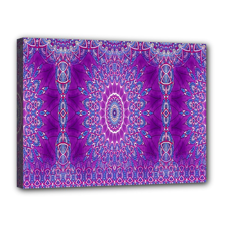 India Ornaments Mandala Pillar Blue Violet Canvas 16  x 12
