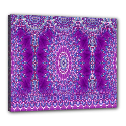 India Ornaments Mandala Pillar Blue Violet Canvas 24  X 20