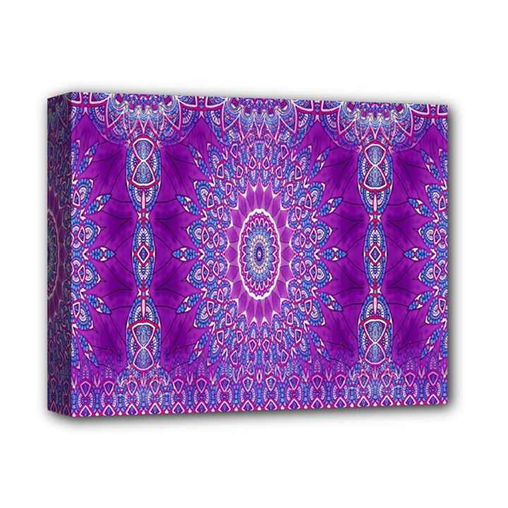 India Ornaments Mandala Pillar Blue Violet Deluxe Canvas 14  x 11