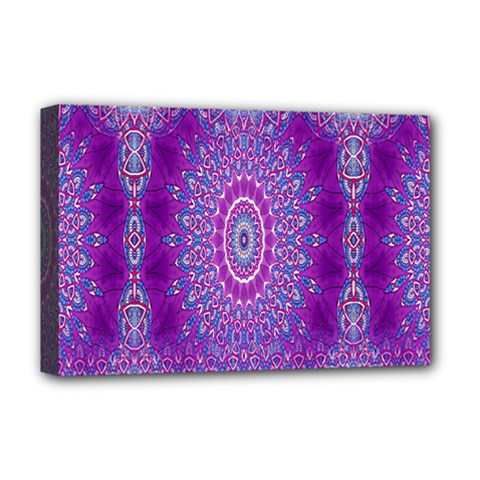 India Ornaments Mandala Pillar Blue Violet Deluxe Canvas 18  x 12