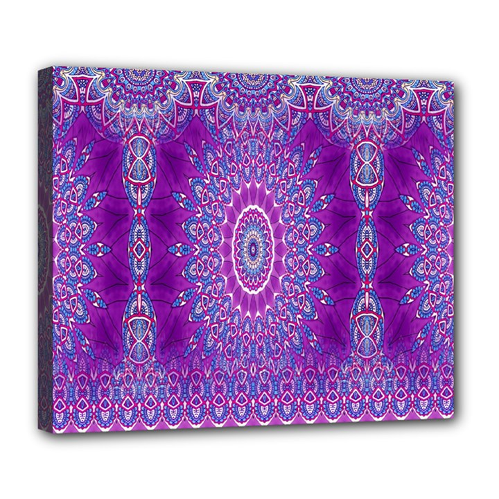 India Ornaments Mandala Pillar Blue Violet Deluxe Canvas 24  x 20