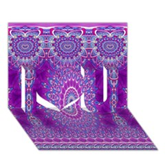 India Ornaments Mandala Pillar Blue Violet I Love You 3d Greeting Card (7x5)