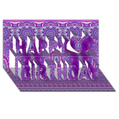 India Ornaments Mandala Pillar Blue Violet Happy Birthday 3d Greeting Card (8x4)