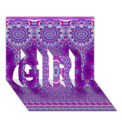 India Ornaments Mandala Pillar Blue Violet GIRL 3D Greeting Card (7x5)
