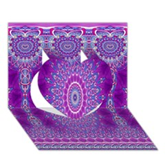 India Ornaments Mandala Pillar Blue Violet Heart 3D Greeting Card (7x5)