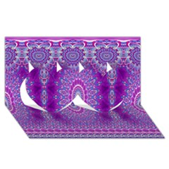 India Ornaments Mandala Pillar Blue Violet Twin Hearts 3d Greeting Card (8x4)