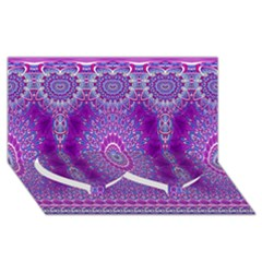 India Ornaments Mandala Pillar Blue Violet Twin Heart Bottom 3D Greeting Card (8x4)