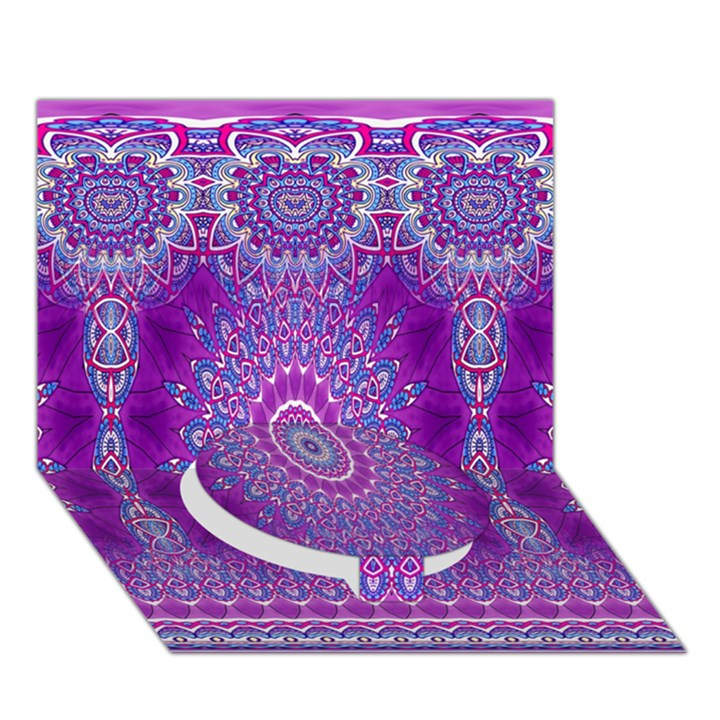 India Ornaments Mandala Pillar Blue Violet Circle Bottom 3D Greeting Card (7x5)