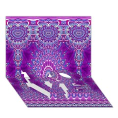 India Ornaments Mandala Pillar Blue Violet LOVE Bottom 3D Greeting Card (7x5)