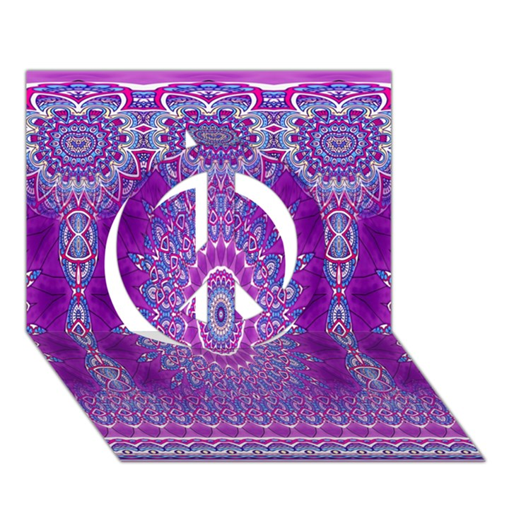India Ornaments Mandala Pillar Blue Violet Peace Sign 3D Greeting Card (7x5)
