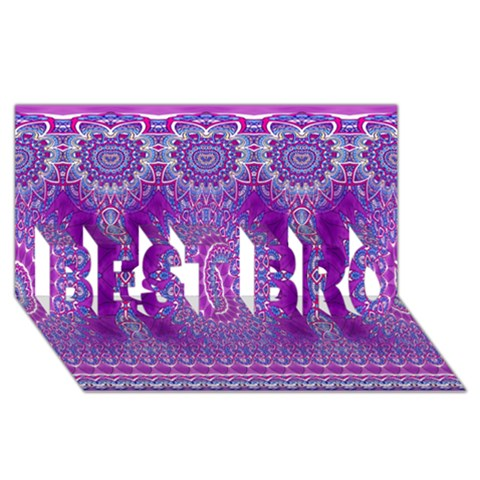 India Ornaments Mandala Pillar Blue Violet BEST BRO 3D Greeting Card (8x4)